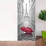 Adhesivo para puerta con efecto 3D, diseño de atrapasueños de ojos para puerta, cocina, salón, dormitorio, cuarto de baño, estilo de papel pintado para paredes – Paraguas en París – 204 x 83 cm