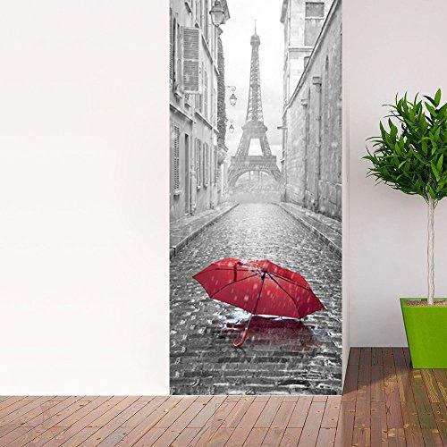 Wandtattoo Tür–Regenschirm in eine Straße von Paris–204x 83cm