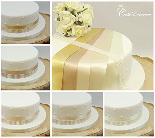 The Cake Emporium Ltd Ruban satiné 1 Metre X 35 mm et 4 Rangs Perle Garniture Décoration de gâteaux gâteau de Mariage Coupez Nuances de crème