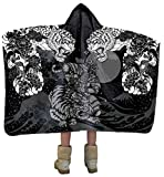 Japanese Ronin Warrior and Tiger Artisan Handcrafted Hooded Blanket