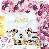 SPECOOL 106 kit Ballon Guirlande,Ballons Vin Rouge,Blancs,Roses +Ballons confettis Roses,Ballons d'Anniversaire la Décorations de fête et Accessoires pour Anniversaire ou Marriage,Douche de bébé