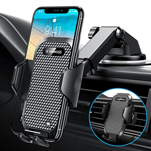 [2020 Upgrade]VANMASS Universal Car Phone Mount Fingerprint Clamp, Hands-Free Phone Holder for Car Dash Windshield Air Vent, Strong Suction, Compatible with iPhone 12 11 Xs Max XR SE 8 Samsung S20 S10