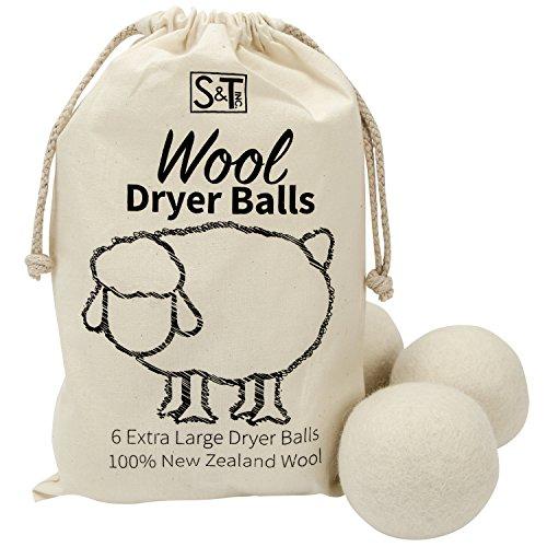 ST 559701 New Zealand Wool Dryer Balls - XL Size - Natural White, 6...