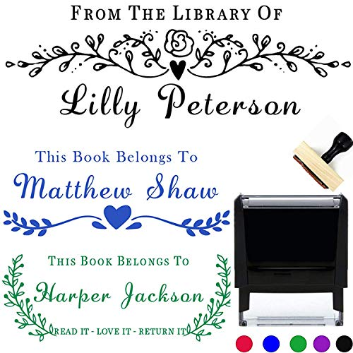 "Book Stamp Thank You Stamp This Belongs to Personalized Self-Inking or Wood Handle Custom Classroom Library Teacher Customized Name from The Ex-Libris of 7/8"" x 2 3/8"""