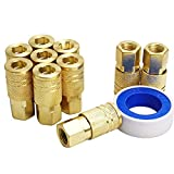 GS Tools Air Coupler Fittings and Teflon Tape, 1/4 Inch NPT Threads and Body Size, Female Industrial Type M, Air Compressor Accessories Fittings, 11 Pieces