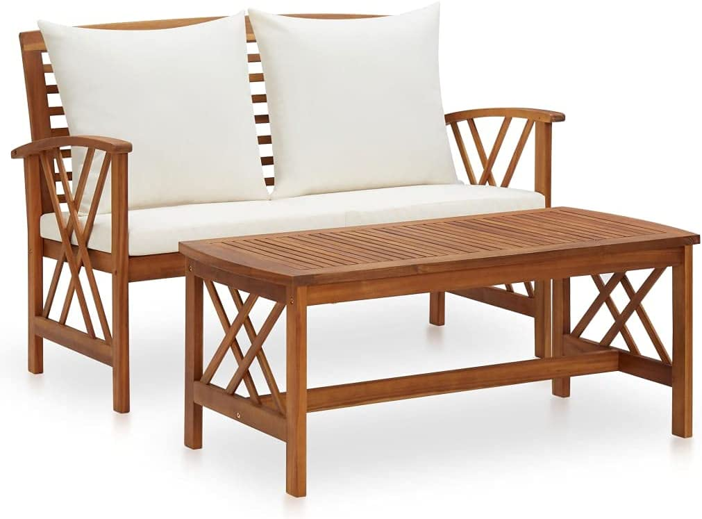 WELLIKEA 2 trust Piece Garden Lounge Set Solid Acacia with Cushions Wo specialty shop