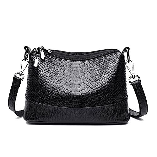 Bolsos de hombro de cuero de lujo Bolsos de mujer Bolsos de diseñador de mujer Bolsos Crossbody para mujeres mujeres (Color: Negro)