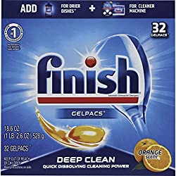 Finish All in 1 Gelpacs, Dishwasher Detergent Tablets, Orange, 32 Count