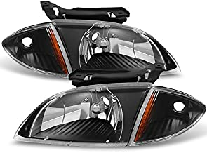 For 2000 2001 2002 Chevy Cavalier Coupe & Sedan Replacement Black Headlights w/Corner Lights Pair Set