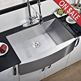 Commercial 33 Inch 304 Stainless Steel Farmhouse Sink, Single Bowl Kitchen Sink 16 Gauge 10 Inch...