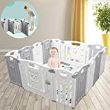 Parc pour enfants Kids Activity Center Safety Play Yard Home Indoor Outdoor New Pen (pliant 12 + 2 panneaux 155 × 155 × 65CM) (Gris)
