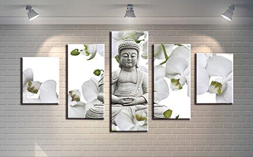 wowdecor Art Wand 5teilig Leinwand Prints mehrere Bilder–Buddha & Weiß Blumen Giclée-Bilder Gemälde auf Leinwand gedruckt, Poster Wand Decor Geschenk, ungerahmt, S