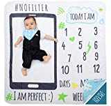 "MeBlanky Baby Milestone Blanket–3X Fluffier Newborn Monthly Milestone Blanket-2in1–Swaddle 'n' Photo – 47""x47"" Super Soft Fleece First Year Baby Blanket–Blue Photo Blanket for Baby Boys or Girls"