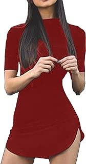 Women's Sexy Bodycon Tight Short Sleeve Mini T Shirts Dresses Irregular Hem