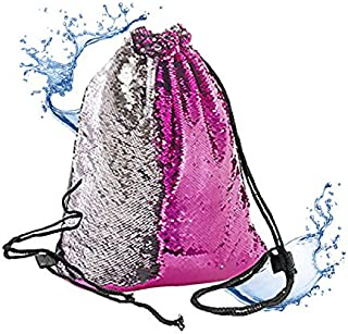 Mermaid Bag Sequin Drawstring Backpack Dancing Bag Fashion Dance Bag Sequin Backpack Flip Sequin Bling Hiking Bags(Rose Red/Silver)