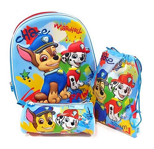 Mochila Patrulla Canina 3D Infantil para niños (31 cms) + Estuche Patrulla Canina Portatodo + Bolsa Paw Patrol para Merienda