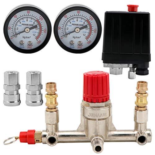 ULTECHNOVO Air Compressor Pressure Valve Switch Silent Valve Switch Pressure Regulator Gauge Adjustable Outlet Valve Parts 175psi