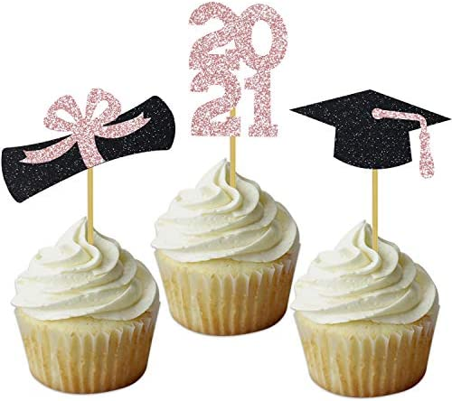 Rose Gold 2021 Graduation Cupcake Toppers Grad Party Decoration Cap Tassel Diploma Food Picks product image