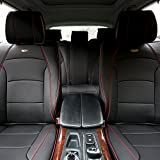 FH Group PU205115 Ultra Comfort Highest Grade Faux Leather Seat Cushions (Black with Red Trim) Full Set – Universal Fit for Cars Trucks & SUVs