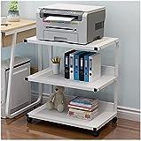 Impresora de Casas Soportes de 3 Niveles de pie Impresora de pie Soporte de Escritorio Multifunción Impresora Copiador Escáner Estante Soporte Mesa de Almacenamiento y organización (Color : White)