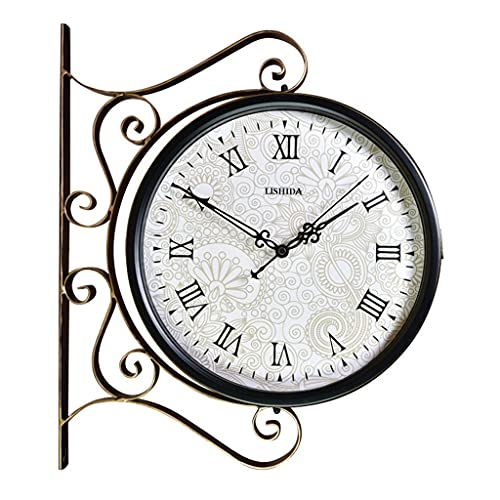 Relojes de parede Doble Cara Retro Estilo Europeo Reloj silencioso para Sala de Estar Patio Hierro Retro Reloj Reloj de Escalera (Color : Black 14, Size : 16 Inches)