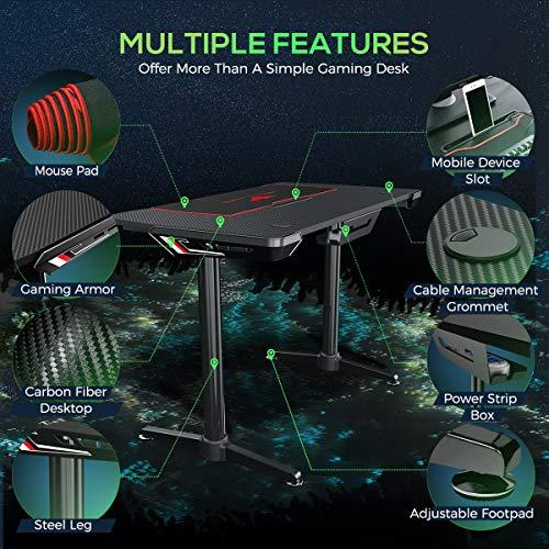 EUREKA ERGONOMIC Gaming Tisch I1 Gaming Schreibtisch mit Kabelmanagement System PC Gamer Tisch Computertisch Desk 112 * 61 cm Schwarz 2