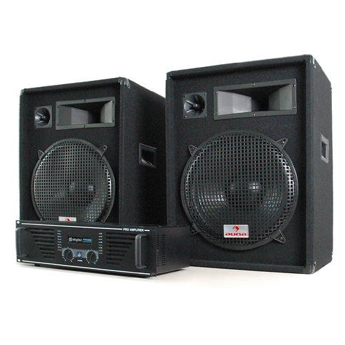 elektronik star Miami Quasar DJ Set Verstärker 1200 Watt + Boxen 2X 800 Watt Komplettset inkl. Kabeln