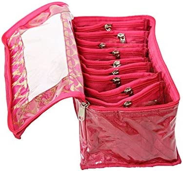 Kuber Industries Pink Fabric 10 Transparent Pouches Jewellery Box product image
