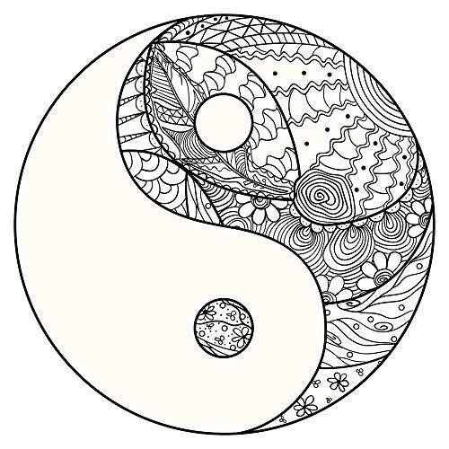 dekodino® Sticker mural de Affouragement logement Sticker mural Mandala en forme de Yin et Yang avec Noir Blanche ornements décoration murale à coller Sticker mural Motif Inde Sticker mural Déco