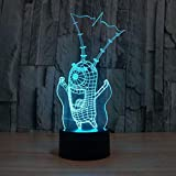 Patron en cuir LED 3D veilleuse coloré interrupteur tactile à distance USB, lumière d'atmosphère visuelle LED avec 7 variations de couleur, lumière de décoration de la maison