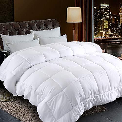 "Comforter Queen Size White All Season Reversible Down Alternative Duvet Insert with Corner Tabs - Quality Winter Warm Soft Comforter (White,Queen,88""x88"")"
