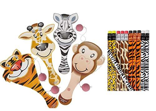 Fun Set of Zoo Animal- Safari Party Favors ~ 12 Wild Animal Print Pencils and 12 Fun Zoo Animal Paddleball Games