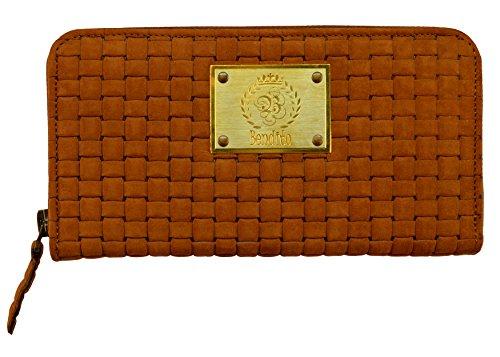 OPTEXX echt lederen portemonnee dames met RFID-bescherming TÜV getest & gecertificeerd Bendito Mia Weave Cognac portemonnee clutch met RFID-blokker