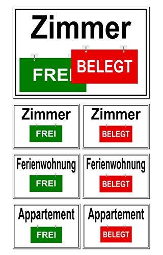 Zimmer-Appartement-Ferienwohnung-Frei/Belegt-Wechsel-Schild-30 x 20 cm-Aluminium-Vermietung-Hotel-Pension-Türschild (30 x 20 cm Zimmer)
