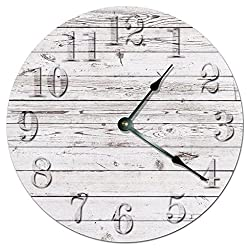 12 Vintage Rustic Beach Board Clock Printed White Wood Boards Wooden Decorative Round Wall Clock