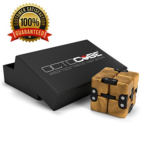 OCTOCUBE Infinity Cube Fidget Toy w/Gift Box - Luxury Infinite Cool Gadget for Kids, Adults - Prime Sensory Stress Relief, Pressure Reduction Unique Distraction for Autism, Quit Smoking - Gold