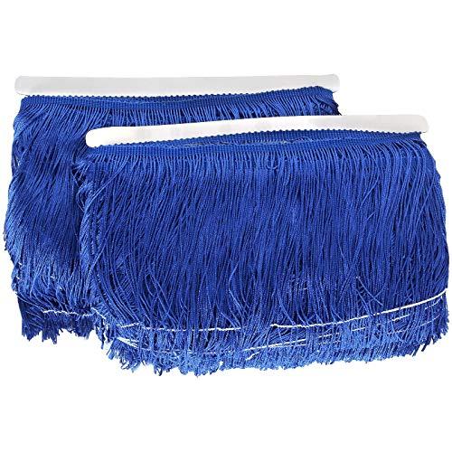 55 Yards Fringe Trim Royal Blue Tassel Trim 6 Inch Wide Polyester Yarn Fabric Trim for Clothes Accessories Latin Wedding Dress DIY Lamp Shade Decoration