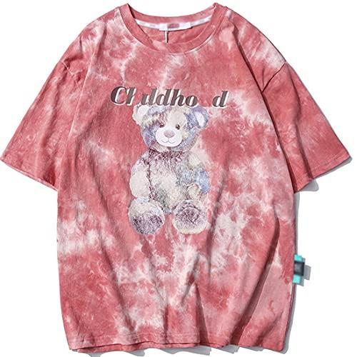 Yesgirl Camiseta unisex de manga corta con diseño de oso y dibujos animados para hombre y mujer, con cuello redondo y manga corta a rosa M