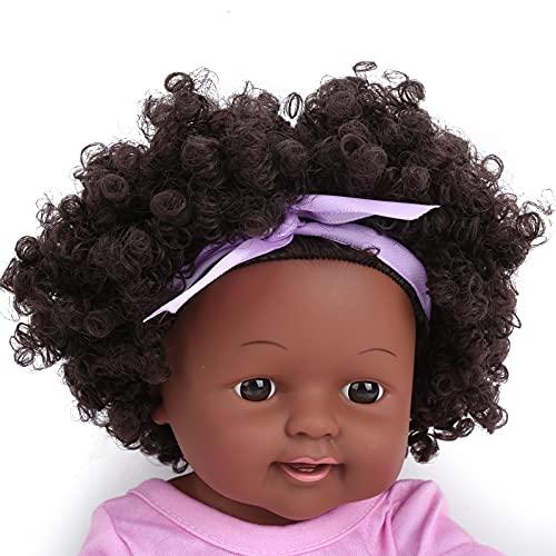Muñeca bebé, Adorable muñeca rizada Linda de Juguete Mano de Obra Exquisita Sensación cómoda con Cabello Negro Explosivo para niña Regalo para niños Mayores de 3 años(Q12-035 Pastel Skirt)