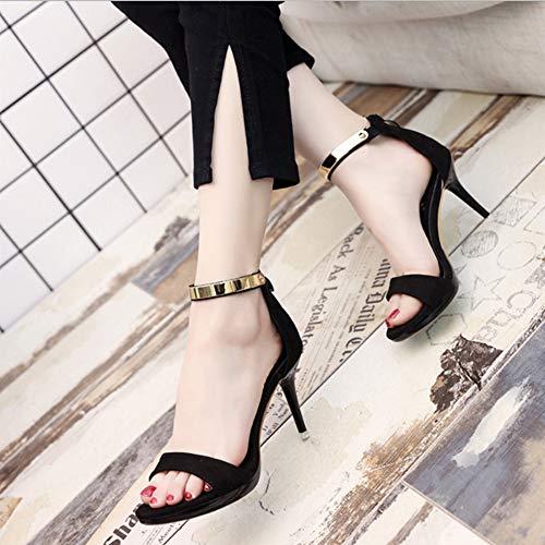 Vrouwen Sandalen Open-Toe hoge hakken Fine Heel Waterproof Platform One-Line Buckle Suede Europese stijl sandalen voor vrouwen,Black,34