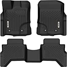 oEdRo Floor Mats Compatible with Ford Ranger Supercrew Cab 2019-2021, Front & 2nd Seat 2 Row Liner Set, Black TPE All-Weather Guard - Custom Fit
