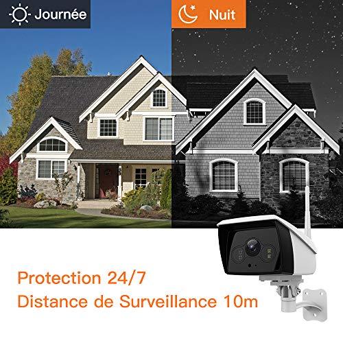 Caméra IP Extérieur sans Fil 1080P HD, Caméra Surveillance WiFi avec Étanche IP66, Caméra de Sécurité avec Vision Nocturne, Bi-Audio, Détection de Mouvement-iOS/Android/Tablettes/PC Windows