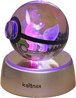 تصویر حکاکی لیزری با لامپ 3D کریستالی در پایه تغییر رنگ LED در توپ (Eevee)