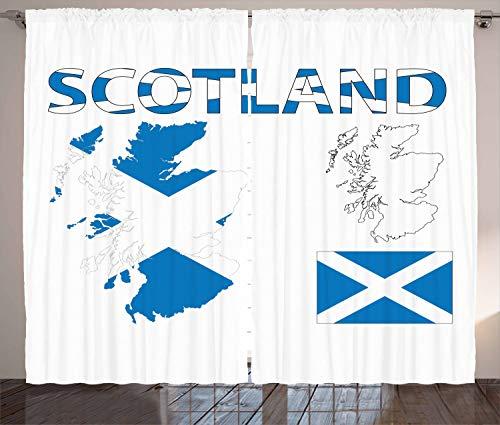 ABAKUHAUS Schotland Gordijnen, Land Kaart en de Vlag, Woonkamer Slaapkamer Raamgordijnen 2-delige set, 280 x 245 cm, Cobalt Blue White