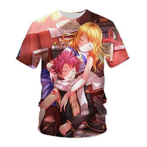 Fairy Tail T-Shirt Natsu Dragneel Lucy Heartfilia 3D-gedrucktes Anime-Muster-T-Shirt Unisex-Short Sleeve Cosplay Rundhalsausschnitt Tops Sweatshirts, Für Die Tägliche Casual / Party -YW(Size:XX-groß)
