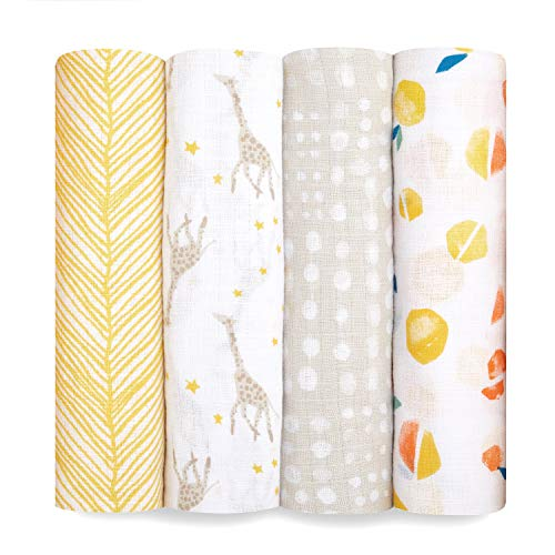 aden + anais Swaddle Blanket, Boutique Muslin Blankets for Girls & Boys, Baby Receiving Swaddles, Ideal Newborn & Infant Swaddling Set, Perfect Shower Gifts, 4 Pack, Starry Star
