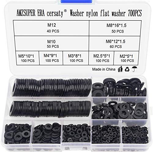 700 Stücke Unterlegscheiben Nylon Flache Beilagscheiben Sortiment 9 Größen(M2 M2.5 M3 M4 M5 M6 M8 M10 M12) lsolierscheibenFür Mechanische Industrie Befestigungen, Schwarz