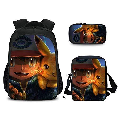 XLST Pokémon Sac D'école Impression 3D École Sac À Dos Anime Personnage Pikachu Décontractée Sac À Dos 3 Set Sport Cartable,B