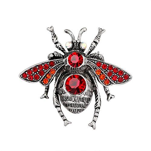 Lumanuby 1x Vintage Rot Käfer Broach Pins für Damen und Herren Schön Insekt Anstecker Strass mit Pin für Kleid/Anzug/Schal, Brosche Serie Size 4.7 * 4.3cm