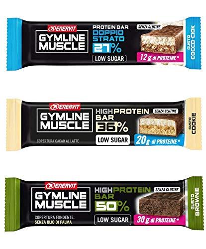 enervit GymLine Protein Bar Variety Pack | 10 Cocco-Ciok 27% + 10 Cookie 36% + 10 Brownie 50%